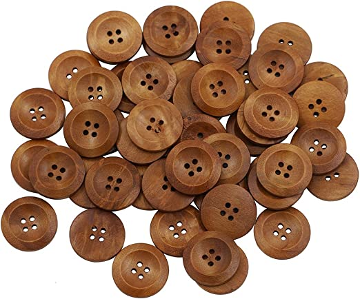 10 x NATURAL  WOOD  BUTTONS 30mm dia **FREE SAME DAY  POSTAGE** 4 HOLES