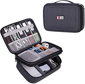 BUBM Estuche para Eléctricas Organizador de Accesesorio Bolsa de Viaje para Cables Cargador,Gadget de Memoria USB Bolsillo para iPad Mini(Mediado, Negro): Amazon.es: Electrónica