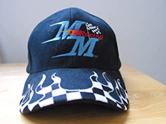 MM Racing Hat Ball Cap Style Embroidered Logo w/Checkered Flag