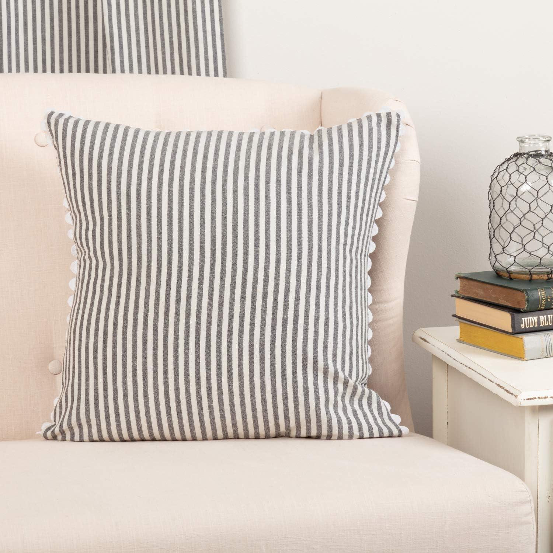 "Piper Classics Farmhouse Ticking Stripe Gray Throw Pillow Cover W/Rickrack, 18' x 18"" Farmhouse Sofa or Bedding Décor Accent Pillow"
