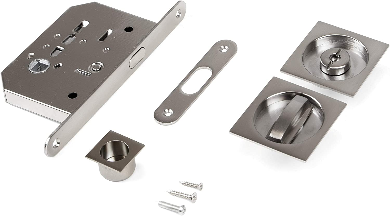 Emuca - Kit de cerradura con muletilla cuadrada, cerradura condena para puerta corredera, 57x57mm, Acero, Níquel satinado