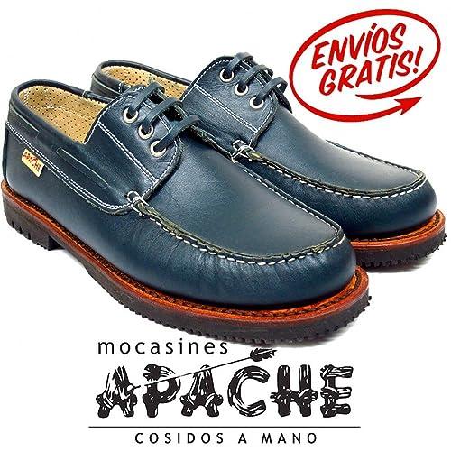 Zapato nautico clasico con cordones Apache 426 color azul marino - Color - Marino, Talla - 44: Amazon.es: Zapatos y complementos