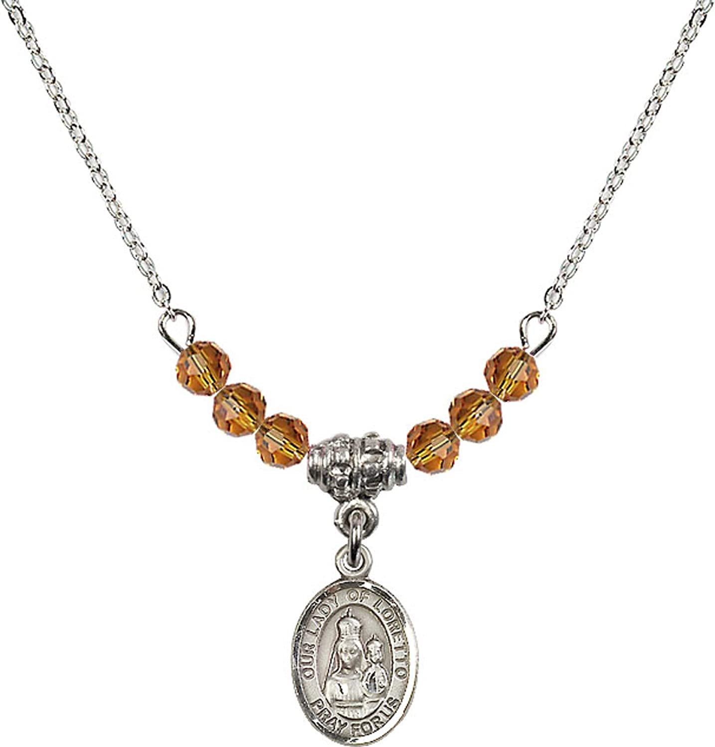 Bonyak Jewelry 18 Inch Rhodium Plated Necklace w// 4mm Yellow November Birth Month Stone Beads and Our Lady of Loretto Charm