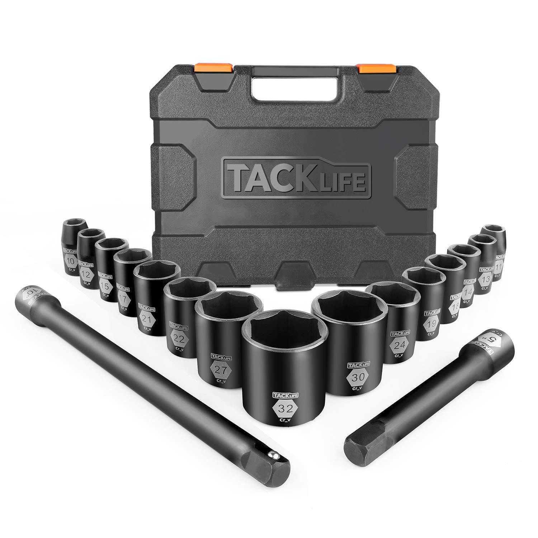Drive Impact Socket Set, TACKLIFE 17Pcs 1/2-Inch Drive Shallow Impact Socket Set, 6 Pt. Socket Design, 15Pcs Metric Sockets with 2Pcs Extension Bar Set – HIS3A
