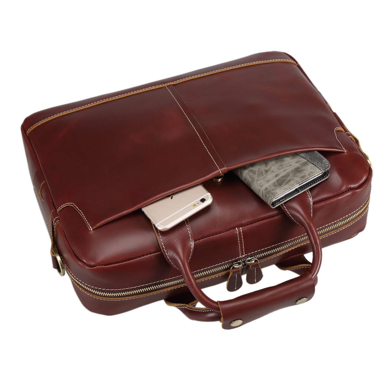 VESIA Genuine Leather Men\'s Bag for Notebag Large Capacity European Style Briefcase Crossbody Shoulder Handbag