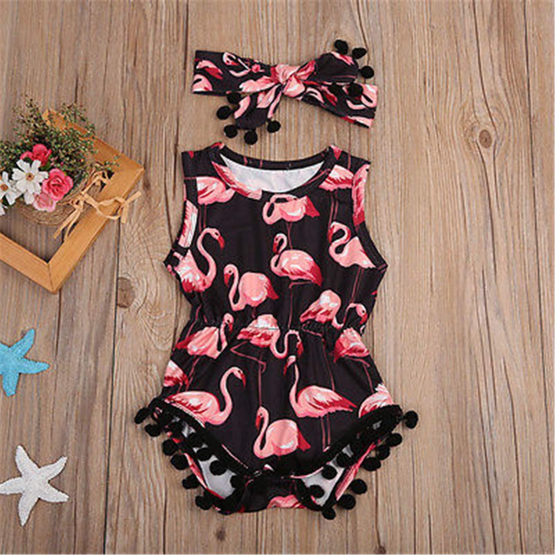 2Pcs//Set Summer Toddler Baby Girls Sleeveless Flamingo Tassel Romper Heanband 2Pcs Jumpsuit