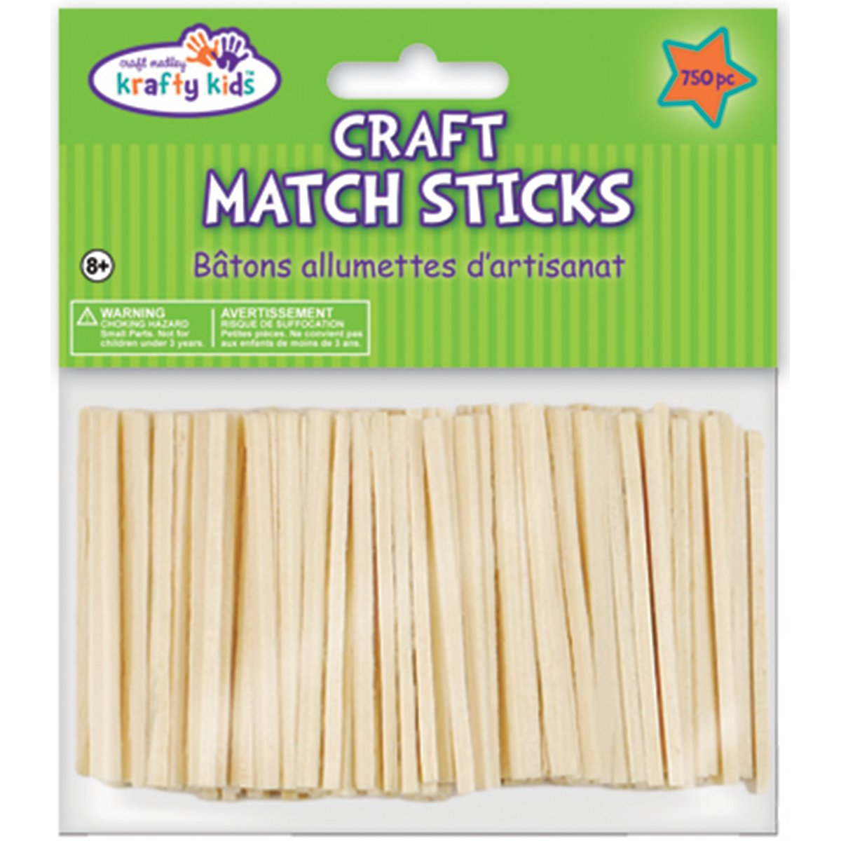 Multicraft Imports Krafty Kids CW524 Craftwood Natural Craft Match Sticks, 2in, 750-Piece