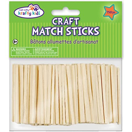Multicraft Imports Krafty Kids CW524 Craftwood Natural Craft Match Sticks 2in 750 Piece