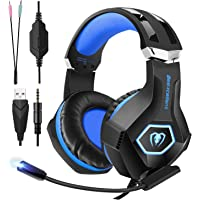 FishOaky PS4 Cuffie Gaming e Bass Stereo, Cuffie da Gioco con Mic a LED, 3,5mm Jack Game Headset con Cancellazione del Rumore e Controllo del Volume per PS4 Xbox One X/S Nintendo Switch PC (Blue)