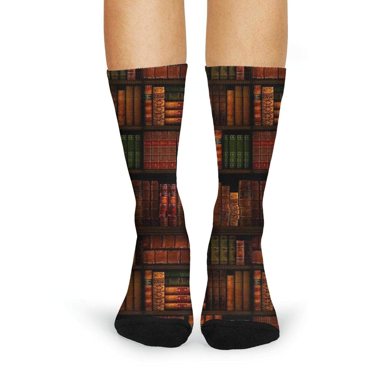 XIdan-die Womens Over-the-Calf Tube Socks Vintage Library Books Moisture Wicking Casual Socks