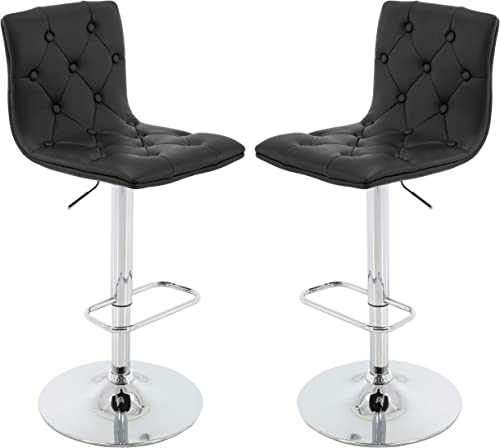 Brage Living Tufted PU Leather Adjustable Height Barstool with Chrome Base and Footrest Set of 2 Black