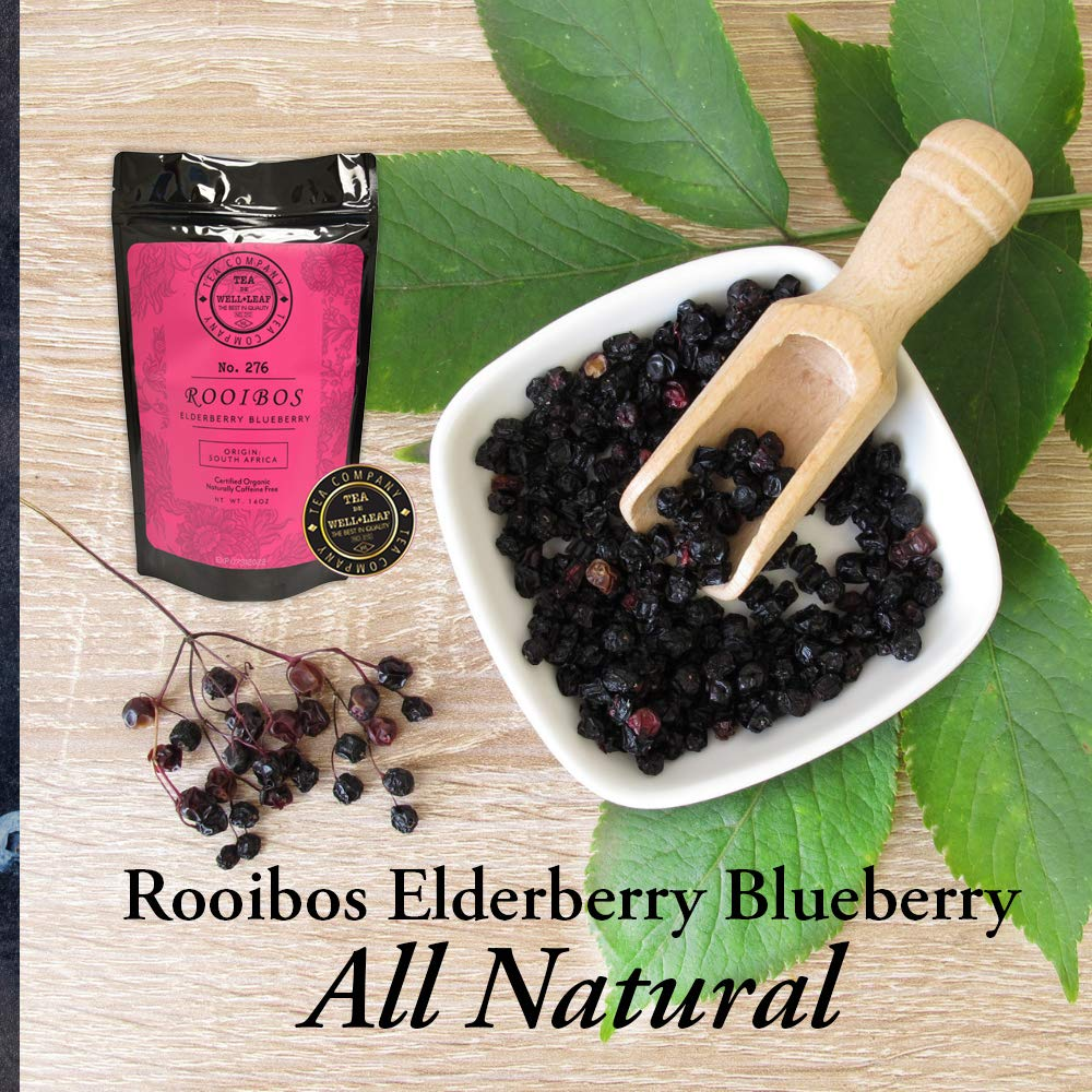 Orgainc Loose Leaf Rooibos Elderberry Blueberry Long Cut Tea Caffeine Free South African RED TEA 16 oz