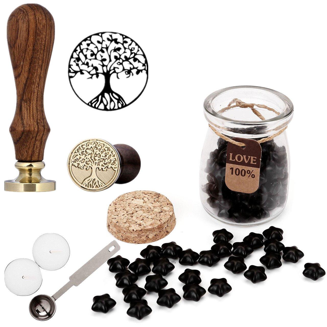 Mogoko Sigillo + Ceralacca in forma di Stella + Cera + Cera Stick Spoon Francobolli Vintage Kit per Lettera Personalizzata Timbri Personali REGALO SET - Nero