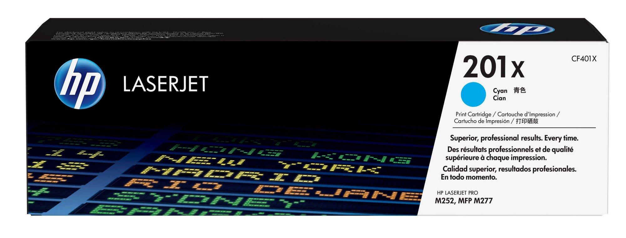 HP 201X (CF401X) Toner Cartridge, Cyan High Yield for HP Color LaserJet Pro M252dw, M277, M277c6, M277dw