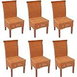 Set 6x sedie M42 rattan vimini classico 96x50x46cm ~ senza cuscino