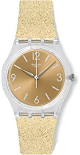 Swatch Originals Sunblush Gold Dial Silicone Strap Unisex Watch GE242C