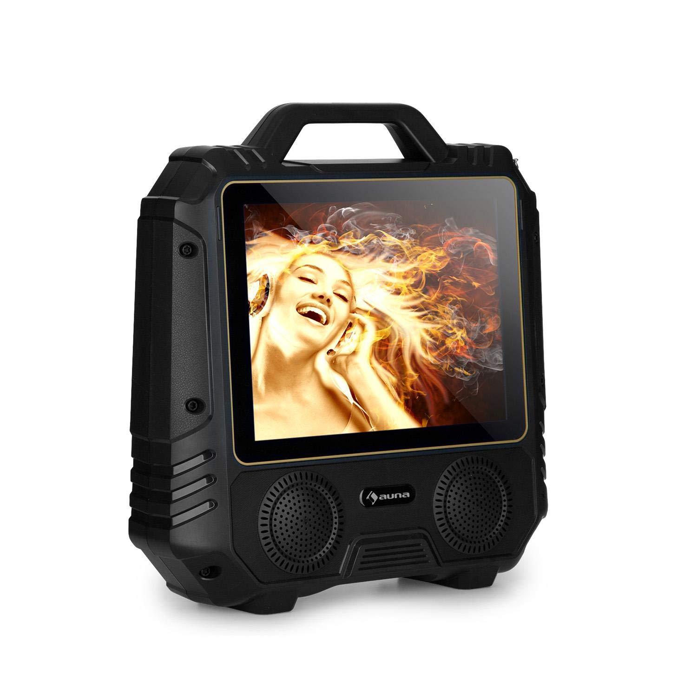 auna CenterStage 8 Altavoz de Karaoke portátil • Equipo de Karaoke • Karaoke • Bluetooth • Batería Recargable • 40 W RMS • USB • MicroSD • Pantalla 14, 1' Color • Micrófono • Negro