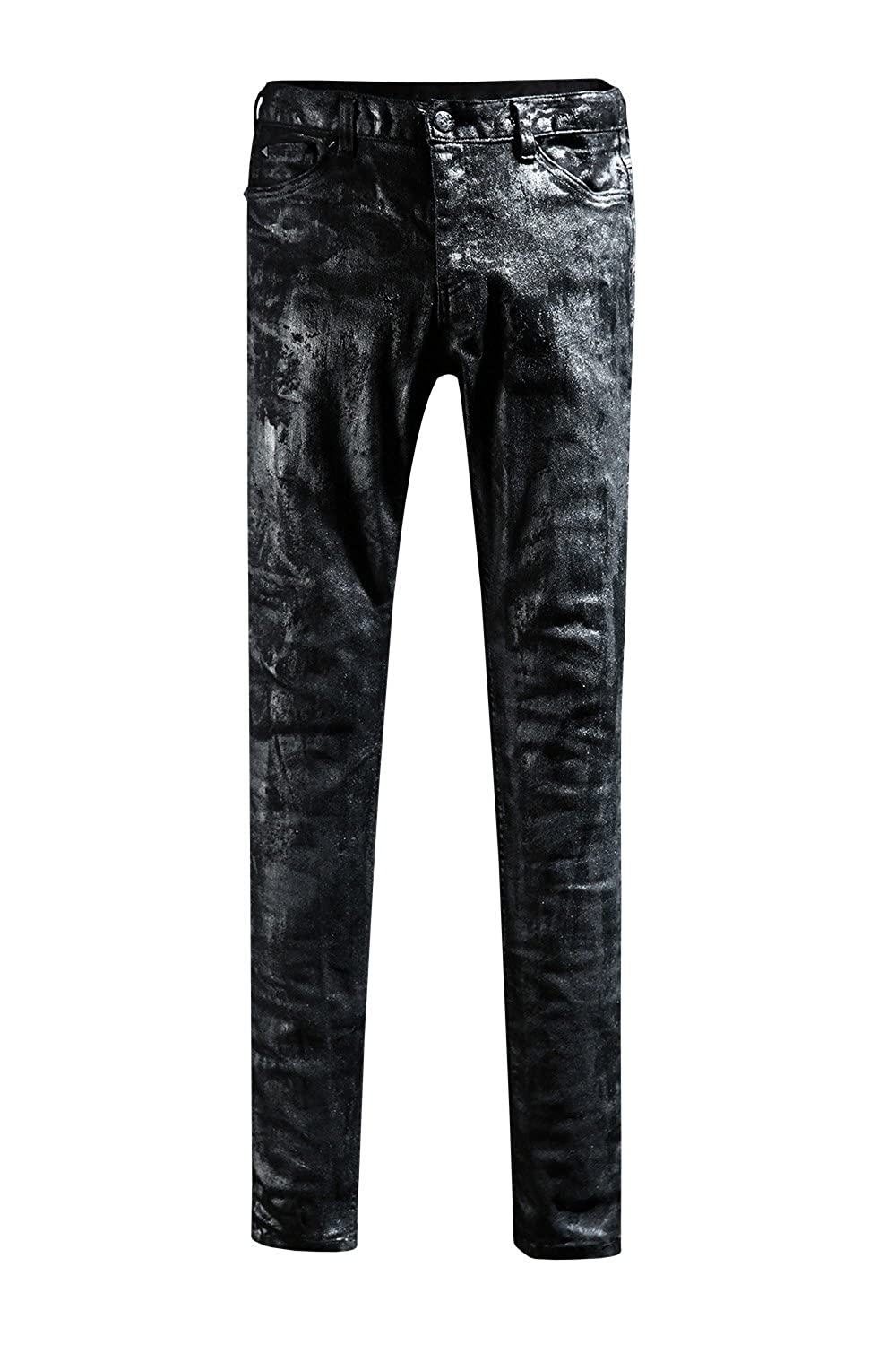ByTheR Men's Chic Gothic Black Color Covering Custom Slim Skinny Grunge Jean