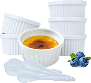 Souffle Dish Ramekins for Baking –8 Ounce (Set of 6, White with 6 Extra Spoons) 8 Oz,4-inch Ceramic Oven Safe Round Ramekin Bowl for Creme Brulee Desserts Puddings Custard Cup Ice Cream Lava Cake