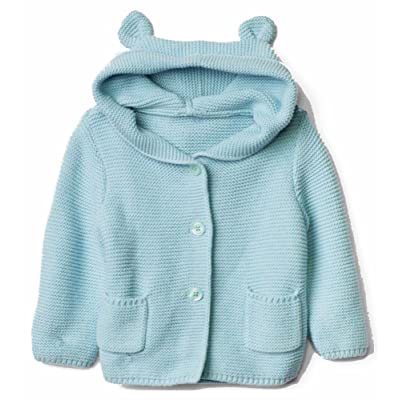 Baby Gap Factory Boys Girls Turquoise Bear Hoody Cardigan Sweater 12-18 Months