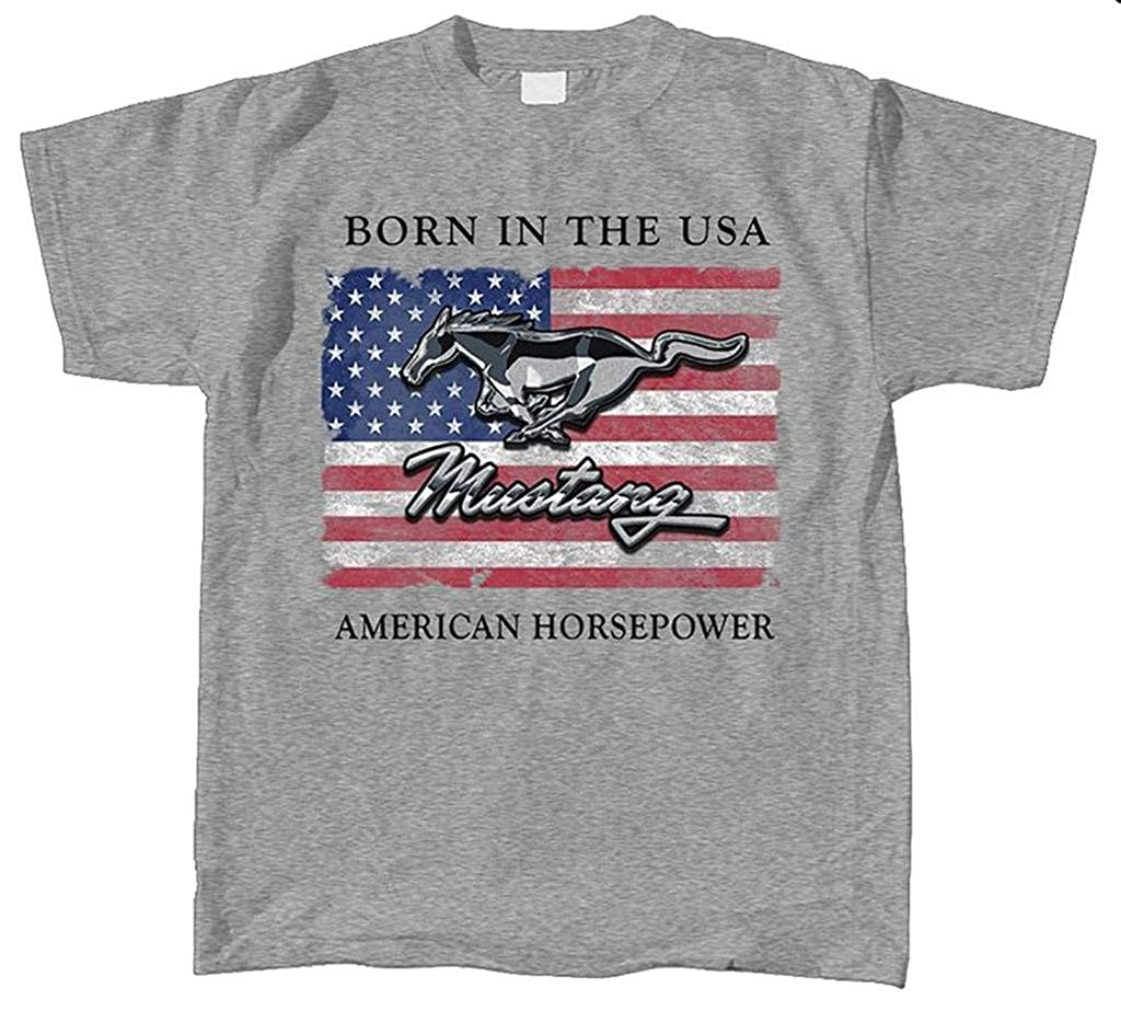 Ts Ford Mustang Tshirt With Running Pony & America Flag Grey