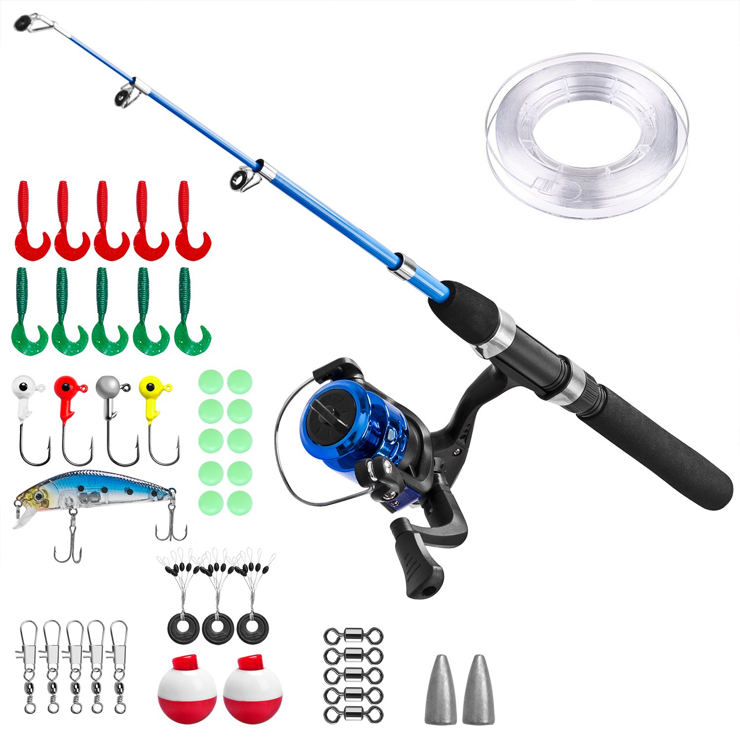 Kids Fishing Pole,Light and Portable Telescopic Fishing Rod and Reel Combos