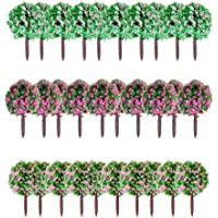 Generic 30pcs 1.38 inch Scenery Landscape Train Model Trees w/ Mixed Colors Flowers - Scale 1/100