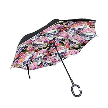 jstel doble capa puede humanos calaveras con flores watercolor paraguas coches Reverse resistente al viento lluvia