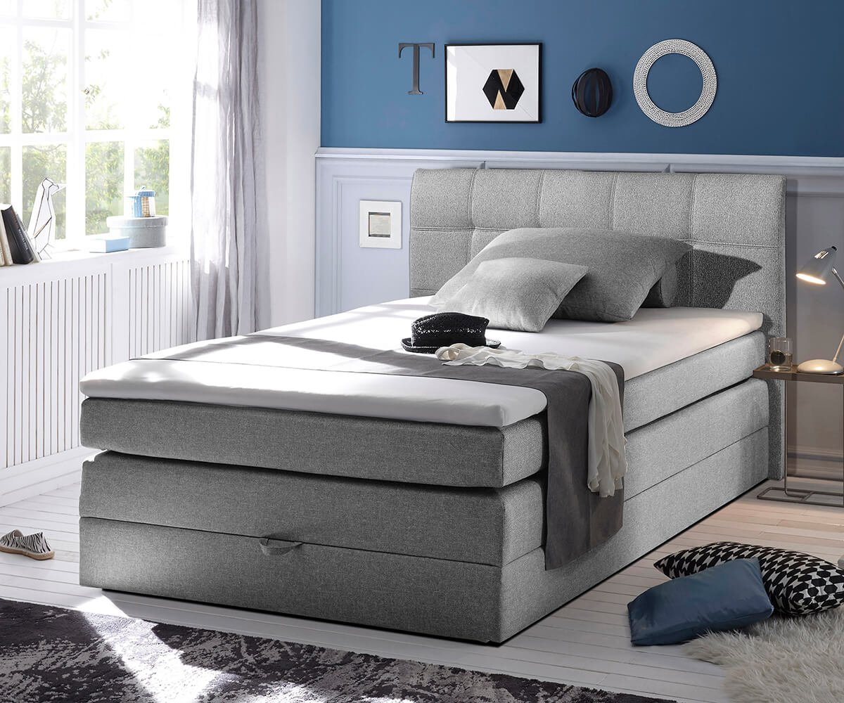 bett neptuno grau 140x200 cm matratze topper federkern bettkasten boxspringbett g nstig preis. Black Bedroom Furniture Sets. Home Design Ideas