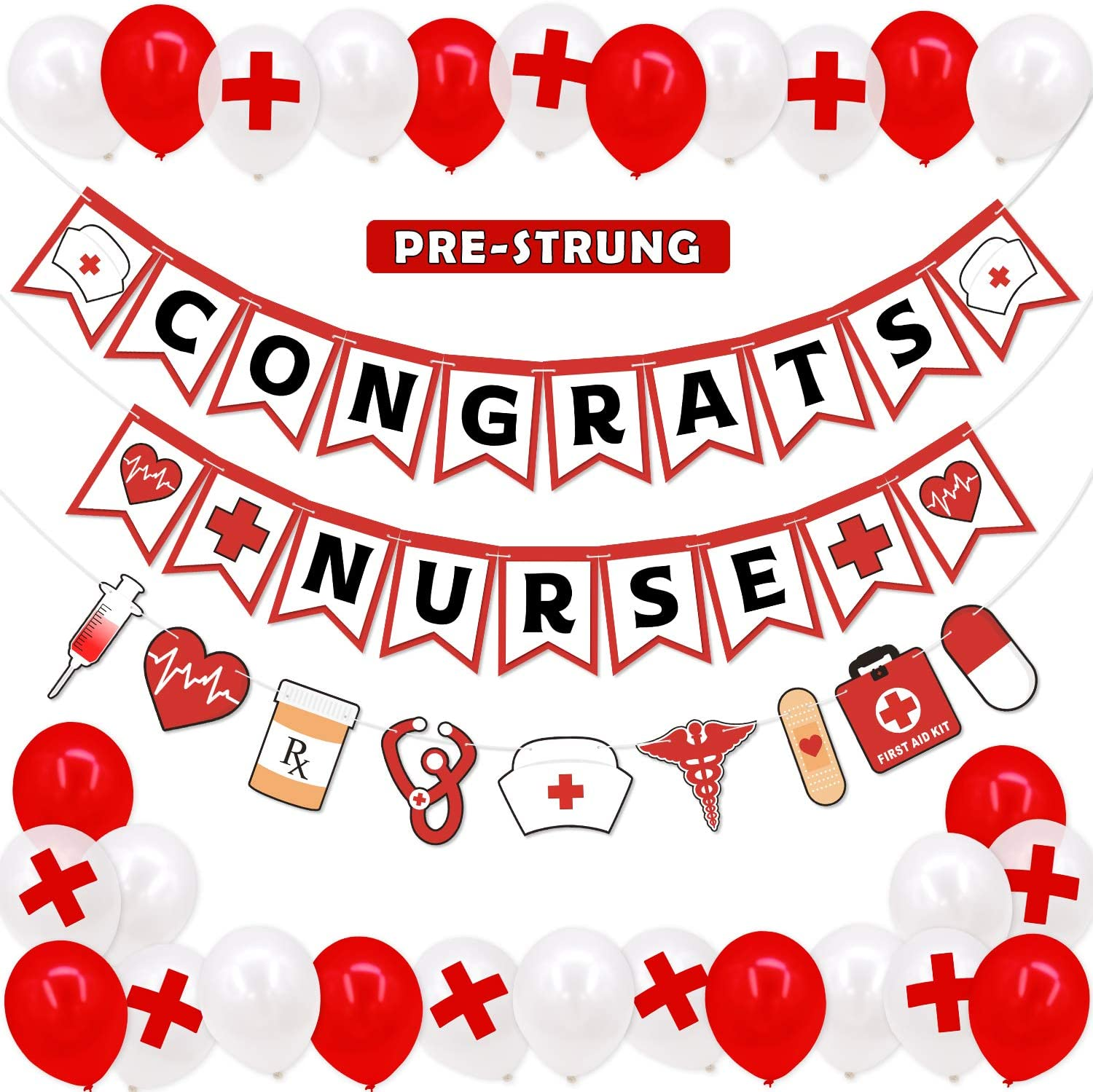 Amazon Com Levfla Nursing School Graduation Party Decoration Favor Set Congrats Nurse Banner Medical Theme Rn Bsn Garland Red Cross Balloons Nurse Week Appreciation Gift Ideas 2020 Supplies Toys Games