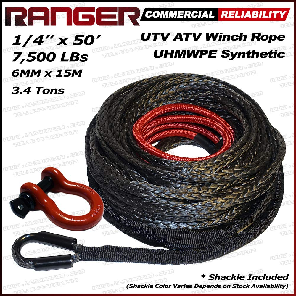 Ranger 7, 500 LBs 1/4' x 50' UHMWPE Synthetic Winch Rope 6MM x 15M for UTV / ATV Winch 500 LBs 1/4 x 50' UHMWPE Synthetic Winch Rope 6MM x 15M for UTV / ATV Winch Ultranger T&HI-B071FZ84HW