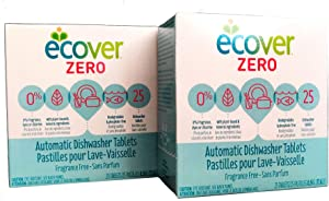 Ecover Automatic Dishwasher Tablets Zero, 25 Count, 2 Pack Bundle, 17.6 Ounce, Fragrance Free