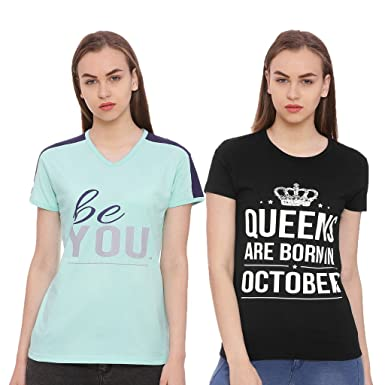 597e1dfdce2 Limeberry pack of 2 Women s Cotton Queens are born in October Month T-shirt  (