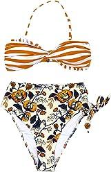 eaed0660f61 CUPSHE Women's Tropical Print Scallop Top High Waisted Bikini