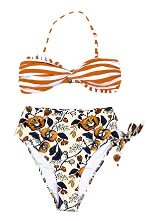 e4b3847853b CUPSHE Women's Scallop Top High Waisted Bikini Striped and Floral Small