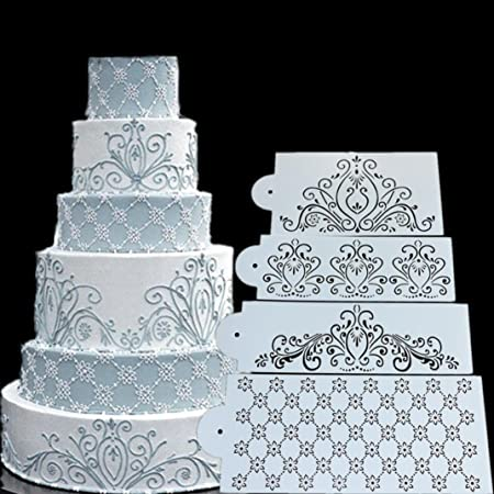 SUGEER 2PCS DIY Wedding Party Cake Stencil Cake Spray Mold Decorating Print SugarCraftSpray Pattern