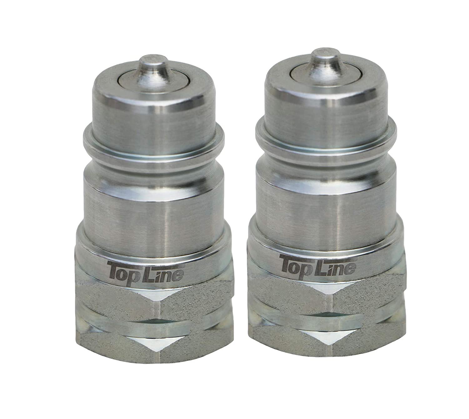 TL37-M 2 pack Ag Quick Coupler Male Nipple - Poppet Style Hydraulic Tractor Coupling - Iso5675 1/2' Standard size Most Agricultural Tractors and Machinery TopLine Iso5675-P12-M