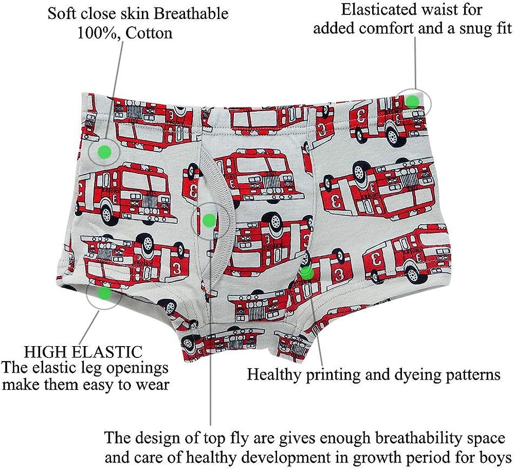 Pack of 6 Kidear Kids Series Soft Cotton Toddler Underwear Little Boys Assorted Boxer Shorts Briefs