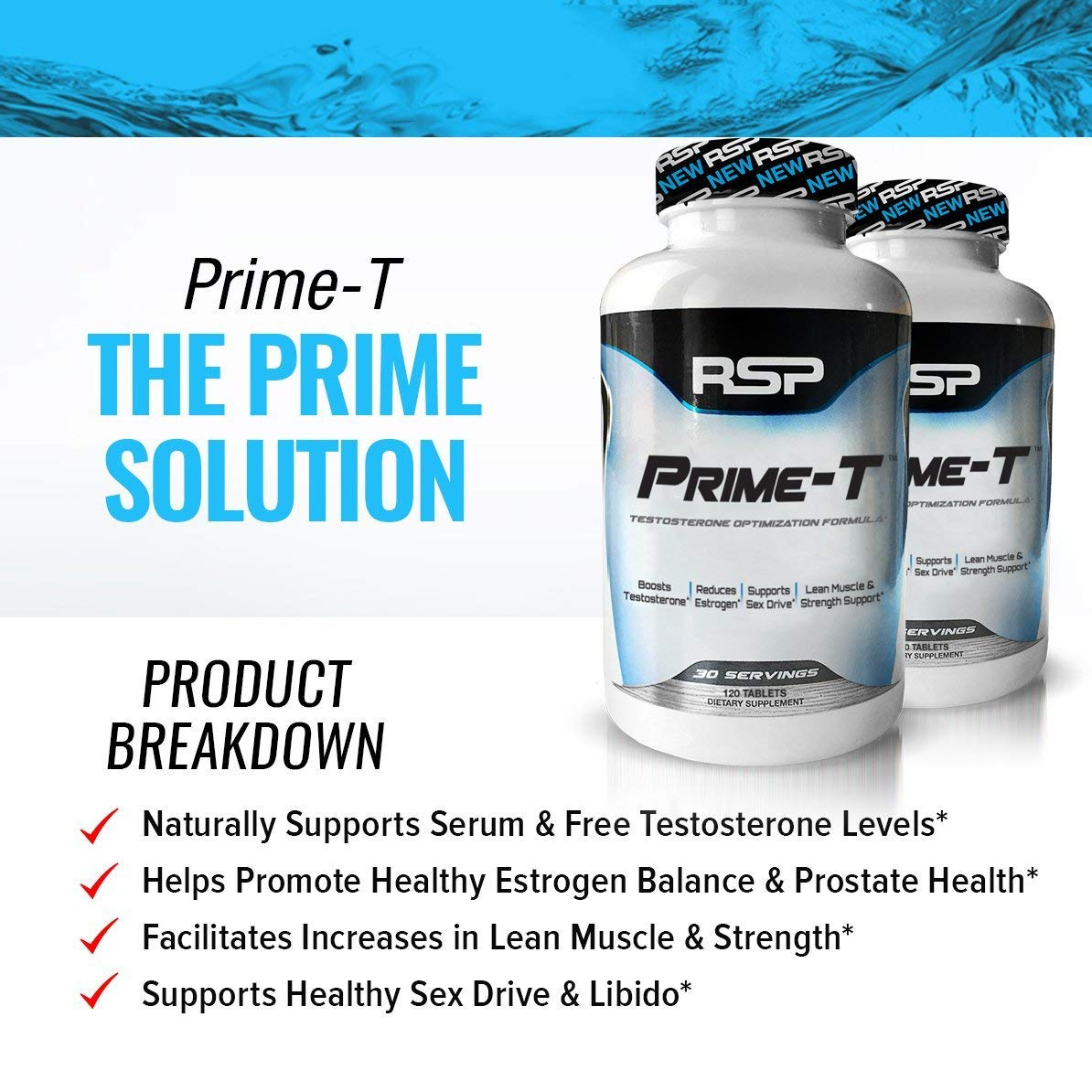 RSP Testosterone Booster for Men, Prime T Natural Test Booster Pills,  Increase Free Testosterone,