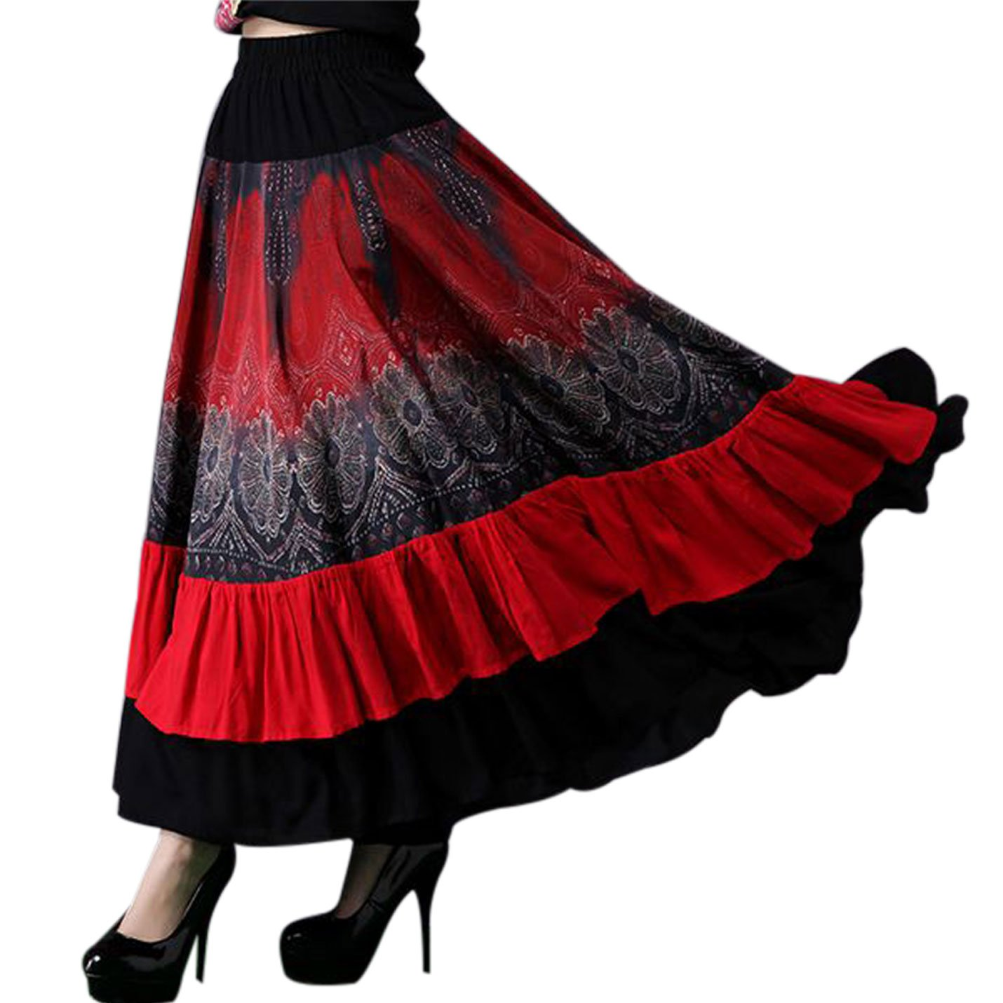 Yeokou Women's Bohemia Gypsy Floral Midi Long Red Flamenco Dance Swing Skirt Red) YK00278Red-OneSize