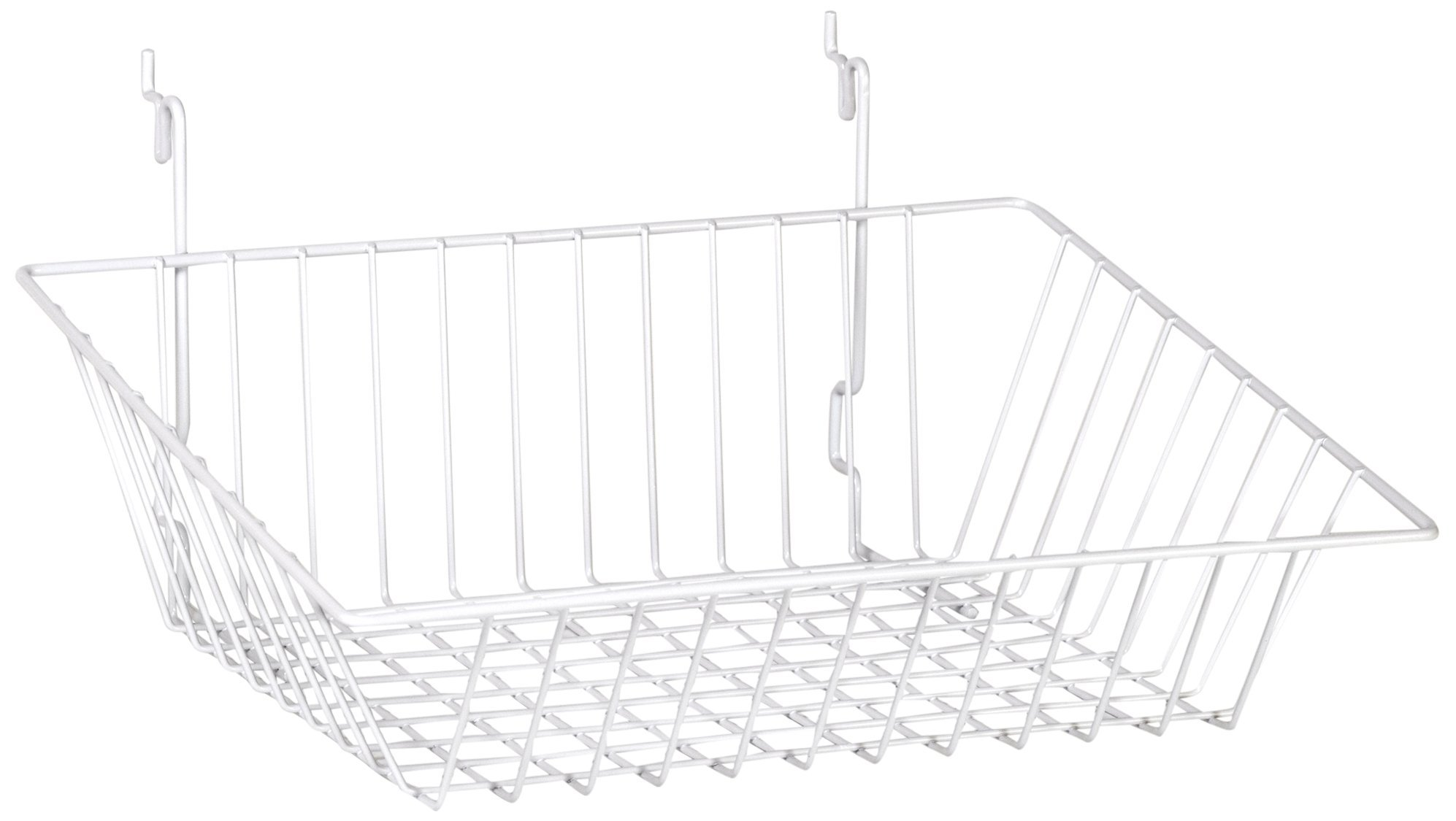 KC Store Fixtures A03031 Sloping Basket Fits Slatwall, Grid, Pegboard, 15'' W x 12'' D x 5'' H Back x 3'' H Front, White (Pack of 6)