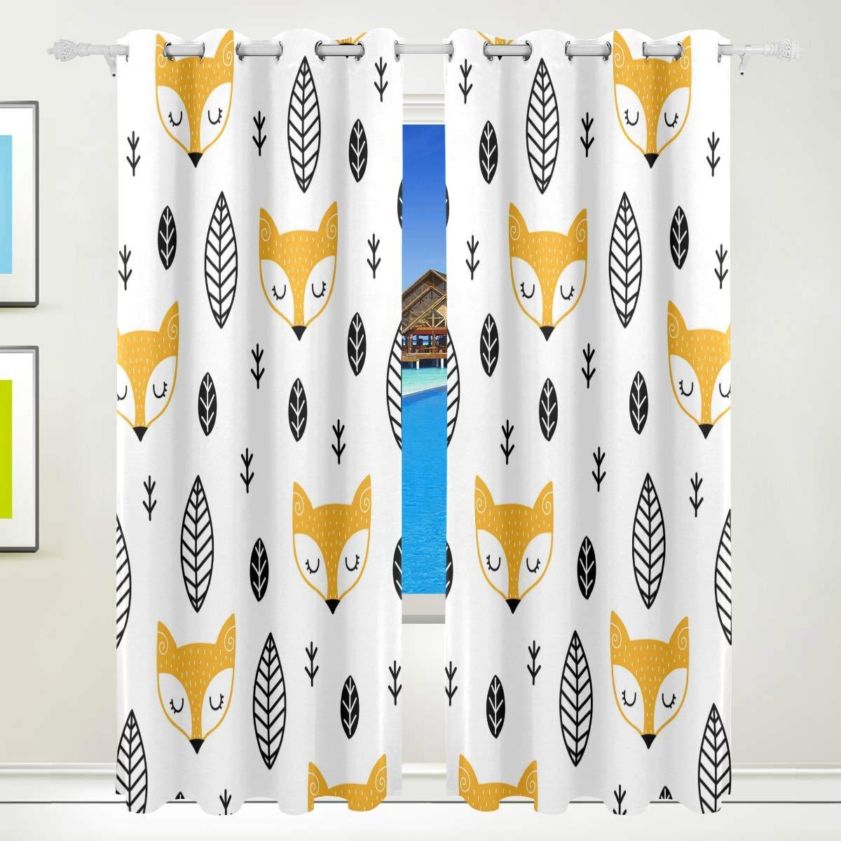 Orediy Verdunklungsvorhänge, 2 Paneele, Motiv Fuchs mit Blätter, Polyester, wärmeisolierend, für Schlafzimmer, Wohnzimmer, Büro, Fenster, Ösenvorhänge, Home Decor 140 x 213,4 cm (B x H)