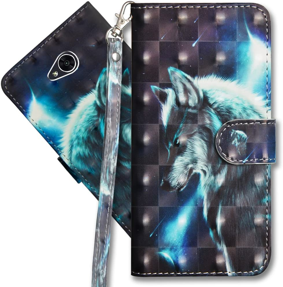 LG Xpower 2 Wallet Case, LG Fiesta 2 Premium PU Leather Case, COTDINFORCA 3D Creative Painted Effect Design Full-Body Protective Cover for LG X Charge/LG Fiesta 2 / LG X Power 2. PU- Wolf