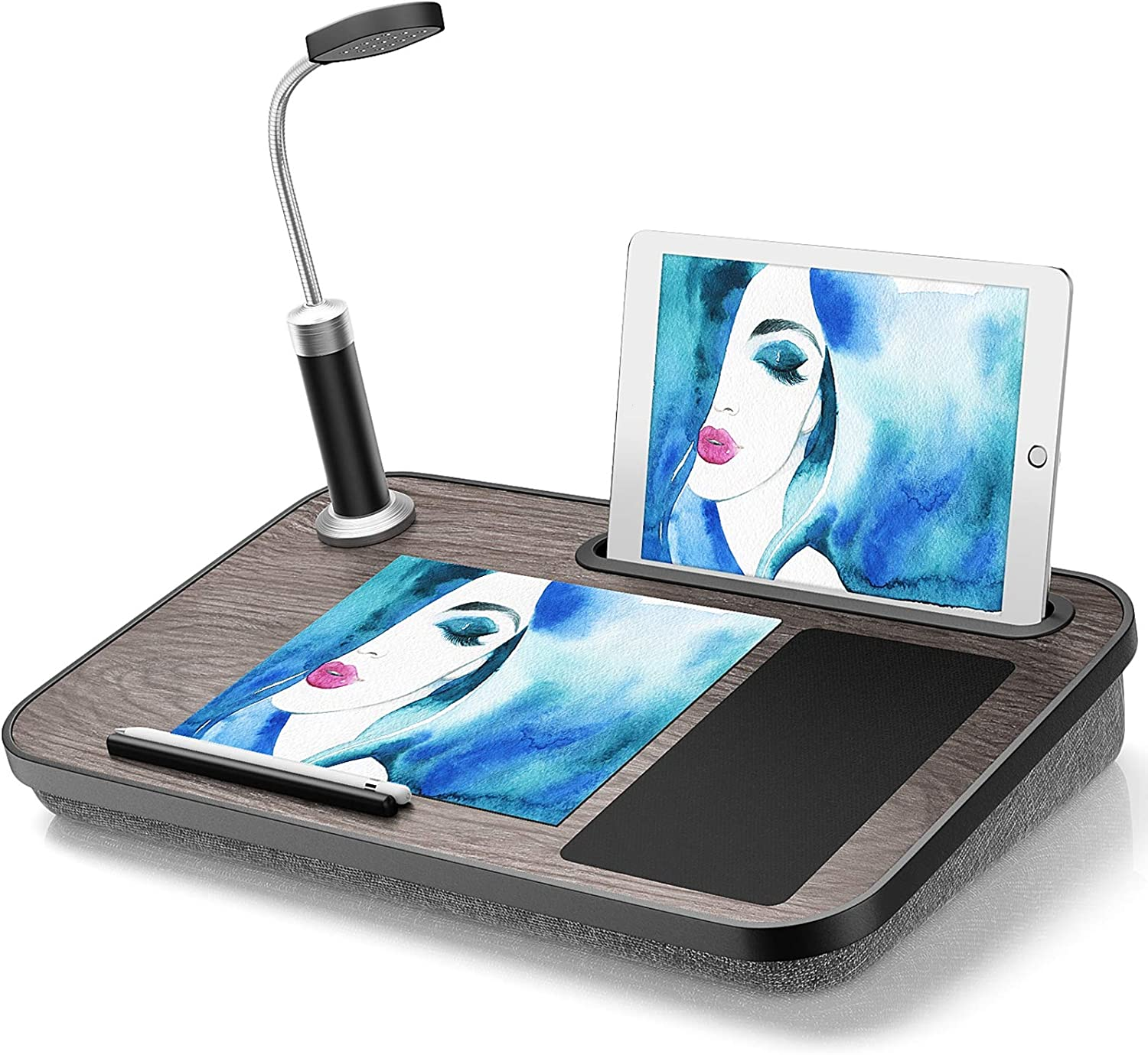 LORYERGO Lap Desk - Laptop Desk with Built in LED Light & Mouse Pad, Portable Laptop Stand Fits Laptops up to 17 Inches, Laptop Table with Phone & Tablet Holder for Couch, Bed
