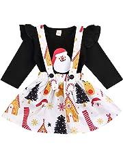 Toddler Baby Kids Girls Christmas Outfit Ruffle Santa Claus T-Shirt Tops Cartoon Tree Deer Print Suspender Skirt Sets