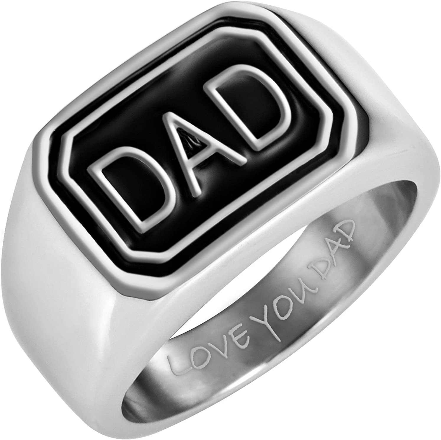 Willis Judd Mens DAD Stainless Steel Ring Engraved Love You Dad in Gift Pouch Black