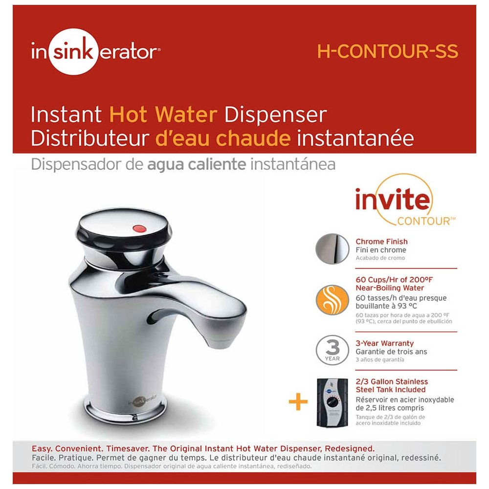 InSinkErator H-CONTOUR-SS Invite Contour Instant Hot Water Dispenser System with Stainless Steel Tank, Chrome by InSinkErator (Image #5)