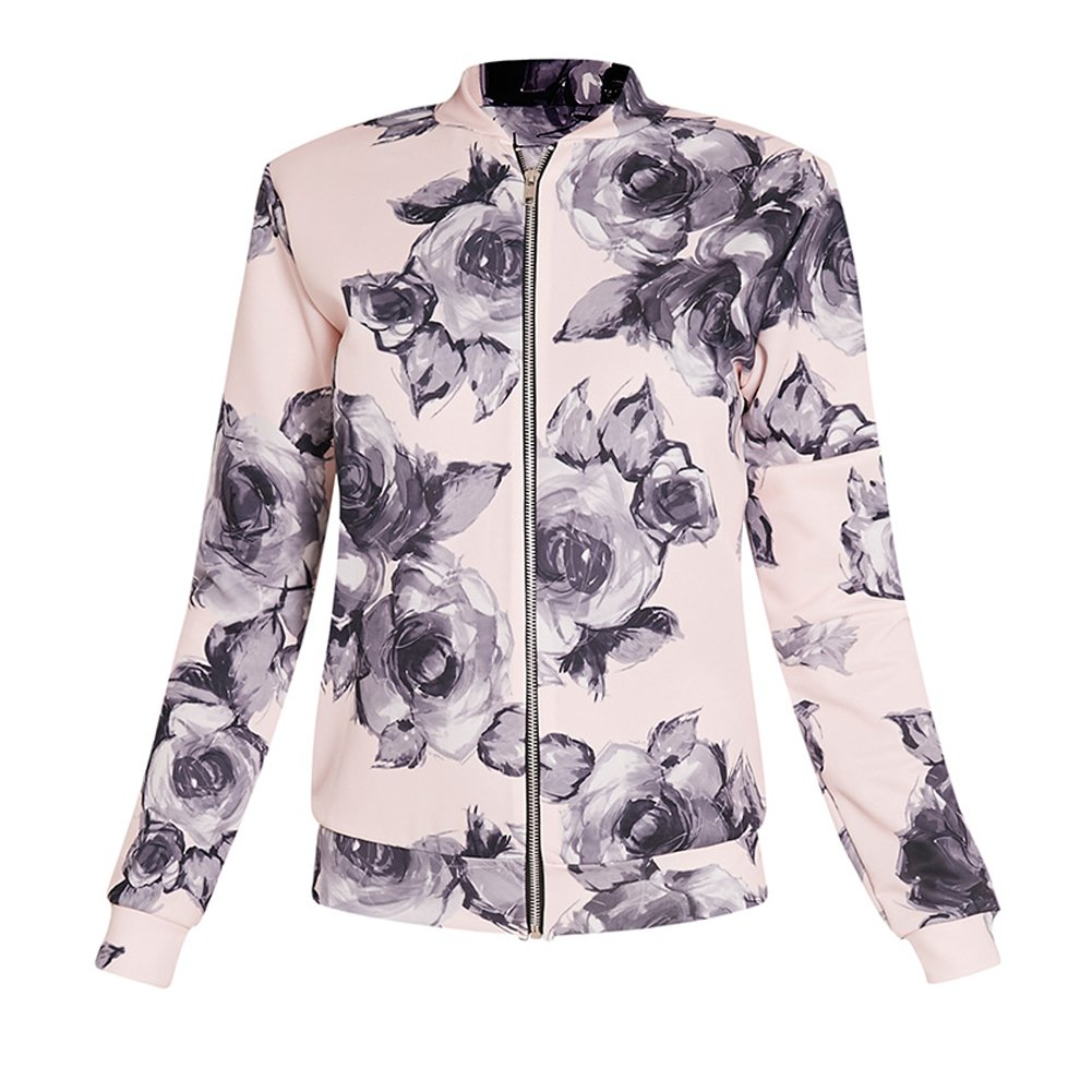 HighPlus Pretty LittleThing Womens Ladies Liana Floral Scuba Bomber Jacket Top