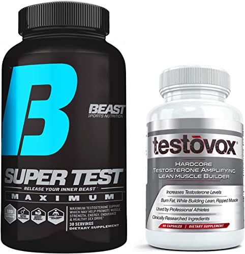Beast Super Test Maximum 120 Bundled with Testovox Muscle Builder 60 caps Most Extreme Supplement Stack for Men Comprehensive Testosterone Booster with Clinically Dosed KSM-66, PrimaVie, S7