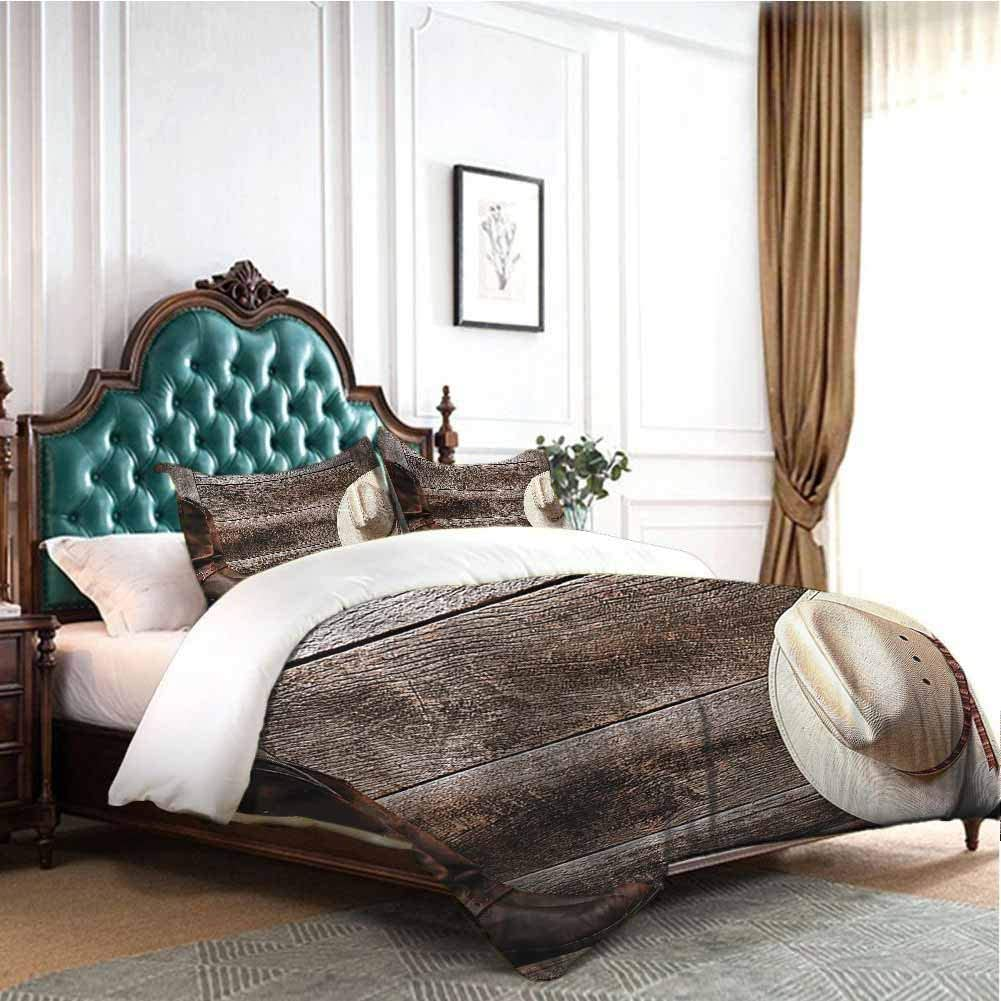 100/% Washed Microfiber 3 Piece Bedding Sets Brown Teal with with Zipper Closure Ultra DIMICA Western Decor Collection Bedding 3-Piece California King Bed Sheets Set
